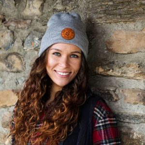 Girl wearing BCJ Beanie