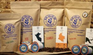 Coffee bags and beans